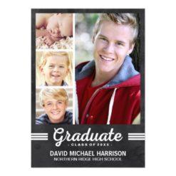 School Spirit | Multi-Photo Graduation Party Invitation Card