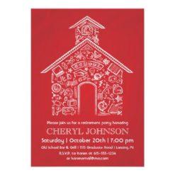 Schoolhouse Teacher Retirement Invitation Red Invitation Card