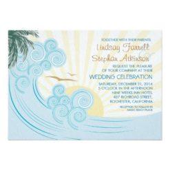 Sea Waves Beach Wedding Invitation Card