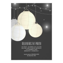 Silver Gold Paper Lanterns New Years Eve Party Invitation Card