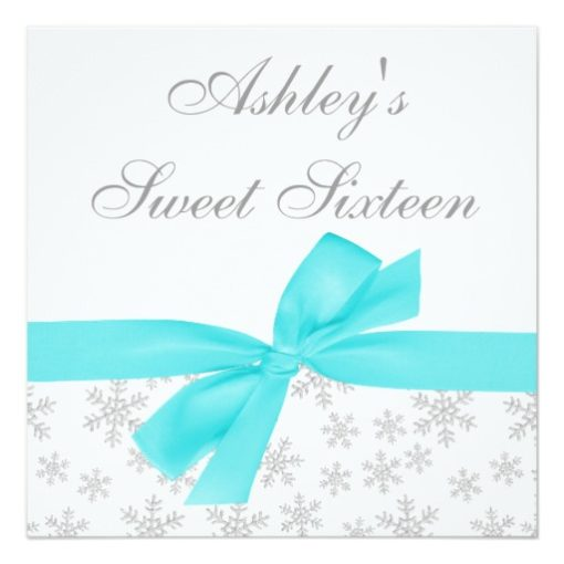 Silver Snowflakes Teal Bow Sweet 16 Invitations Square Invitation Card