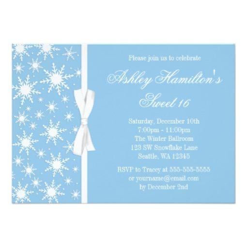 Snowflakes Sweet 16 Winter Wonderland Blue Invitation Card