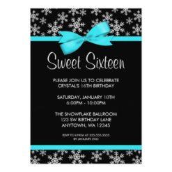 Snowflakes Teal Bow Winter Wonderland Sweet 16 Invitation Card