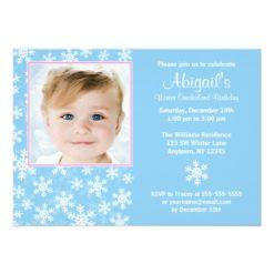 Snowflakes Winter Onederland Photo Birthday Invitation Card