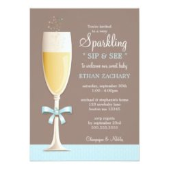 Sparkling New Baby Boy Sip And See Invitation Card