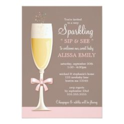 Sparkling New Baby Girl Sip And See Invitation Card