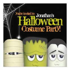Spooky Monster & Friends Halloween Costume Party Square Paper Invitation Card