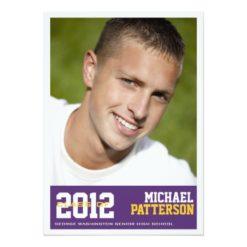 Sport Guy Photo Graduation Party Invitation Purple Invitation Card