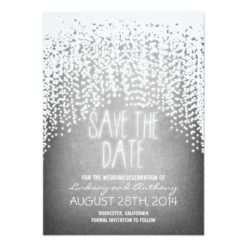 String Lights Shine Rustic Save The Date Cards Invitation Card