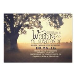 String Lights Tree Rustic Wedding Invitation Card