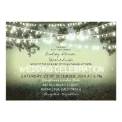 String Of Lights Rustic Wedding Invitation Card