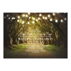 String Of Lights Trees Path Rustic Wedding Invitation Card