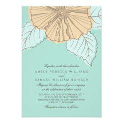 Stylish Modern Hibiscus Mint Wedding Invitation Card