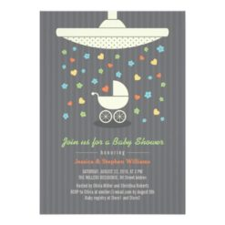 Stylish Neutral Baby Shower Colorful Invitation Card