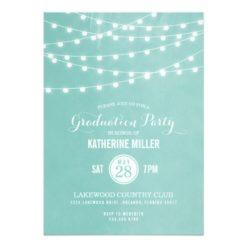 Summer String Lights Graduation Party Invitation Card