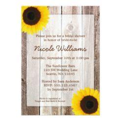 Sunflower Rustic Barn Wood Bridal Shower Invitation Card