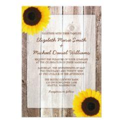 Sunflower Rustic Barn Wood Wedding Invitation Card