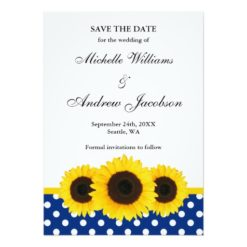 Sunflower White And Blue Polka Dot Save The Date Invitation Card