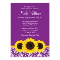 Sunflowers Purple And White Damask Bridal Shower Invitation Card