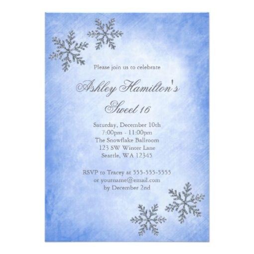 Sweet 16 Winter Wonderland Sparkle Snowflakes Blue Invitation Card