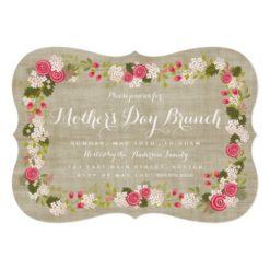 Sweet Burlap Floral Mother'S Day Brunch Invitation Card