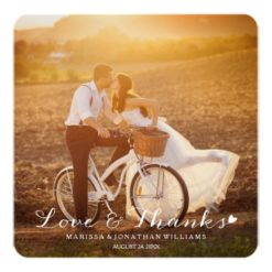 Sweet Little Heart Wedding Thank You Flat Card Square Invitation Card