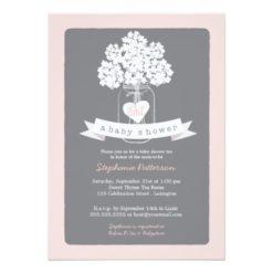 Sweet Mason Jar Pink | Gray Baby Shower Invitation Card