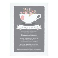 Sweet Teacup & Pink Floral Baby Shower Invitation Card