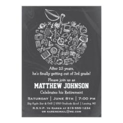 Teachers Apple Retirement Party Invitation Card