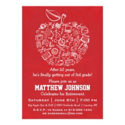 Teachers Apple Retirement Party Invitation - Red Invitation Card
