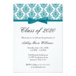 Teal Blue Damask Bow Graduation Announcement Invitation Card