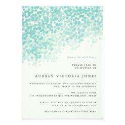 Teal Blue Light Shower Bridal Shower Invitation Card