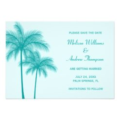 Teal Blue Palm Tree Save The Date Announcement Invitation Card