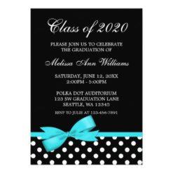Teal Bow Polka Dots Graduation Announcement Invitation Card