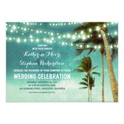 Teal Ombre Beach Wedding Invitation Card