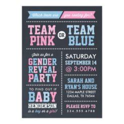 Team Pink Or Team Blue Chalkboard Gender Reveal Invitation Card