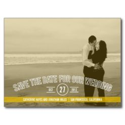 Text Overlay Save The Date Cards - Mustard Postcard