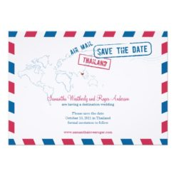 Thailand Air Mail Wedding Save The Date Invitation Card