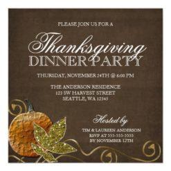Thanksgiving Dinner Party Invitations Square Invitation Card