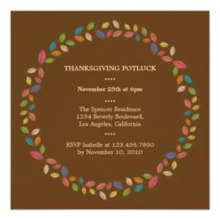 Thanksgiving Harvest Leaves Potluck Party Square Paper Invitation Card