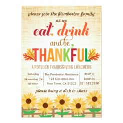 Thanksgiving Lunch Potluck Eat Drink Give Thanks Invitation Card