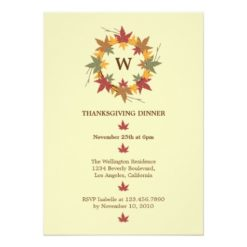 Thanksgiving Wreath Dinner Party Invitation Card