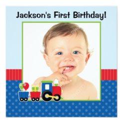 Train Polka Dot 1St Birthday Boy Photo Square Paper Invitation Card