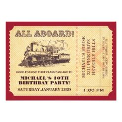 Train Ticket Invitation Card