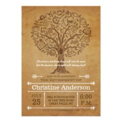 Tree Of Knowledge Teacher Retirement Invitation Card