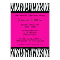 Trendy Hot Pink Zebra Girl Baby Shower Invitation Card
