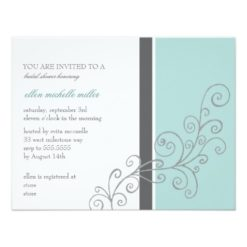 Trendy Swirl Bridal Shower Invites Aqua Charcoal Invitation Card