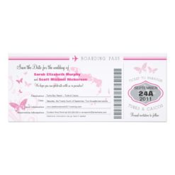 Turks & Caico Save The Date Boarding Pass Invitation Card