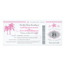 Turks & Caicos Save The Date Boarding Pass Invitation Card