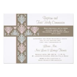 Twin Christening And First Communion Invitation Card